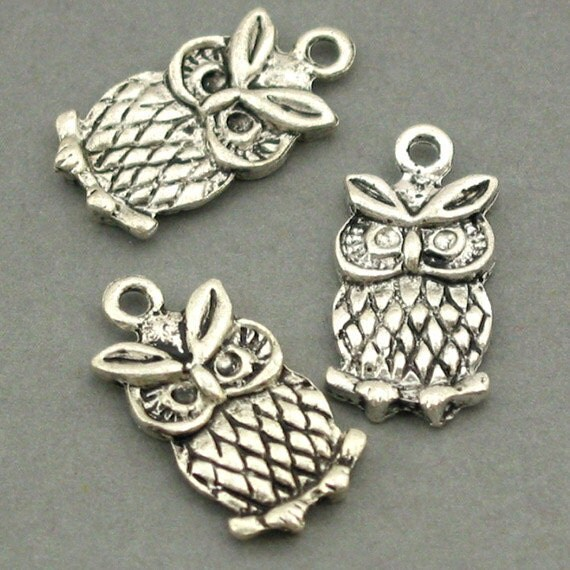 Owl Charms Antique Silver 6pcs base metal Charms 10X21mm CM0079S