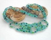 Turquoise Bib Choker Necklace Sterling Silver Wire Wrapped Fine Jewelry Handmade Woven Seed Bead Blue Green Short OOAK