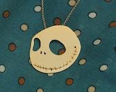 Jack Skellington Golden Necklace, Movie Jewelry, Cute Necklace, Christmas Gift, Halloween Jewelry- Handmade