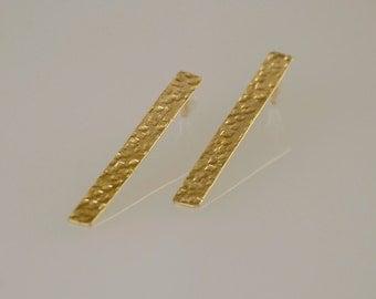 Long Bar Posts , Art Deco Studs , Gold Hammered Rectangle Studs , Stripe Earrings , Gold Bar Earrings , Long Rectangle Stud Earrings