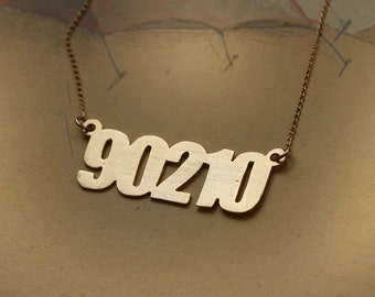 Beverly Hills 90210 Gold Necklace , Hollywood Charm , Funny Jewelry , Retro Necklace , 90's Childhood , California Necklace , TV series