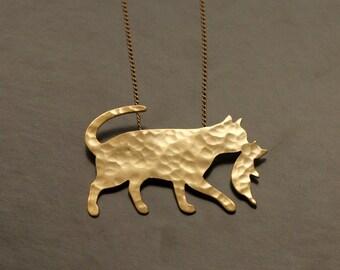 Cat Holding her Kitten Pendant , Cat Necklace, Kitty Cat Silhouette, Gift for Mom