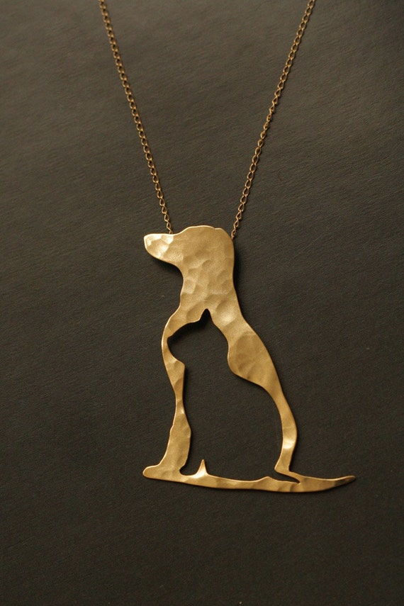 Dog And Cat Silhouette Golden Necklace Dog And Cat Charm