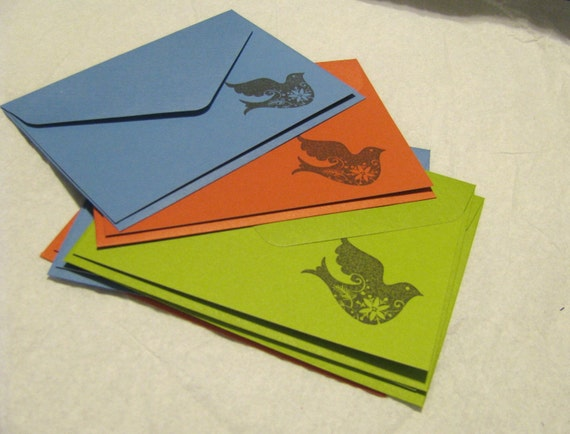 Dove Flat Notecards - Set of 6 - Green Red Blue