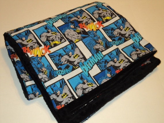 """Batman Baby Blanket - Security Blanket - Baby Gift - 19X23"""" Lovey With Minky- Made To Order - Superhero Baby Blanket - Superhero Baby Shower"""