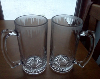 "Personalized etched set of 2 ""frosted"" 25oz mugs"