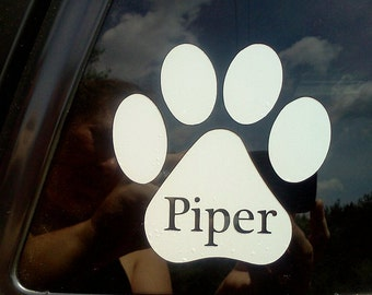 "4"" white vinyl pawprint decal with custom pet name"