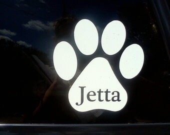 "5"" White vinyl pawprint decal with custom pet name"