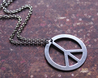 PEACE SIGN Necklace in Silver HIPPIE, Bohemian Pendant Perfect Teen, Daughter, Friend, Gift 'Give Peace a Chance' by RevelleRoseJewelry