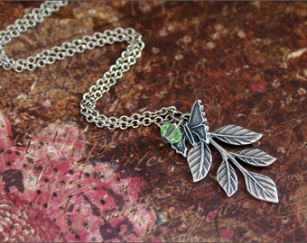 LEAF BUTTERFLY Necklace -w/ SWAROVSKI Crystal- Antiqued Vintage Look Perfect Mother, Friend, Daughter Gift by RevelleRoseJewelry