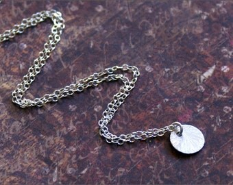 STERLING SILVER Disc Circle Necklace -Brushed Dainty Feminine Coin- 'Celebrity Inspired' As Seen on Reese Witherspoon