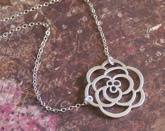 Rose Flower Necklace -STERLING SILVER Chain- PERFECT Wife, Mother, Sister, Friend Gift 'Soft Petals' by RevelleRoseJewelry