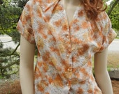 Semi Sheer Amber Leaf  Blouse w/ Pearl Buttons