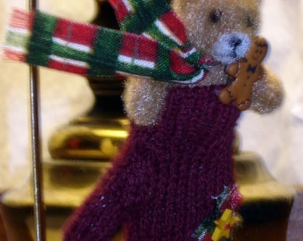 Teddy Bear in a Mitten Ornament