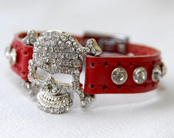 Red leather bracelet , cuff , wristband , skull and Crystal rhinestones , ONE OF A KIND
