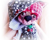 OCTOBER SALE Miss Foxy- an altered art, mixed media, fashion doll. Fits most Blythe sized doll clothing. Comes with clothing pictured