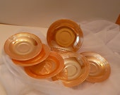Peach Lusterware Three Band Saucers Fire King