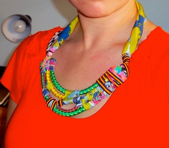 Asymmetric Bungee Cord Statement Necklace with Neon Orange Striped Elastic, Adjustable strap. SALE