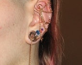 Spiral Ear Cuff with Chain and Bead Dangle (Single)