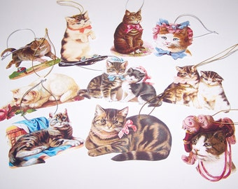 Gift Tags Victorian Parlour Cats Handmade Vintage Inspired  - Set of 10