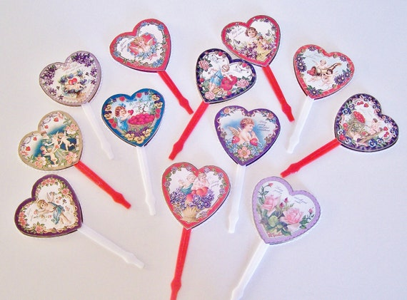 Valentine CUPCAKE TOPPERS Victorian Shabby Handmade Vintage Inspired Set of 12