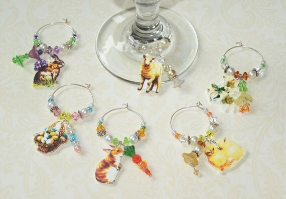 EASTER DRINK CHARMS Stem Ware Table Decor Easter Decoration Cabbage Chic Set of 6