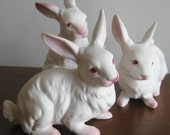 3 Vintage 50s White Easter Bunny Napco Napcoware Ceramic Figurines