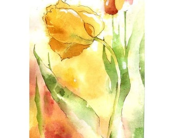 Weave Me the Sunshine - Small Print of radiant tulips in glowing reds, yellows, mossy green