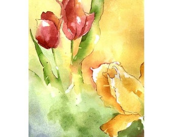 Sunshine Came Softly - Small Print of sunny garden tulips in glowing reds, golds and warm green