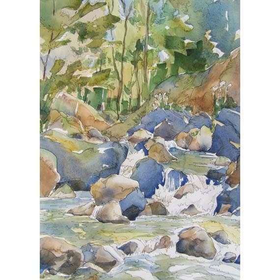 Mountain Stream Love - large signed print of shady colorful creek watercolor painting