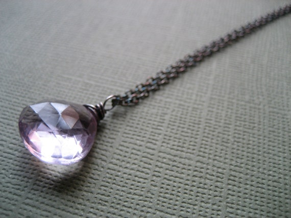 SALE Pink Amethyst Necklace, Single Drop Pendant, Oxidized Silver(D71)