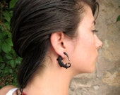 Fake Gauges Earrings Black Horn Earrings Spiral Tribal Earrings - Gauges Plugs Horn - FG011 H G2