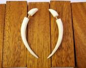 Bone Fake Gauges Bone Earrings Talon Tribal White Bone Organic - FG033 B G1