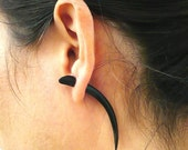 Fake Gauges Earrings Horn Earrings Talon Tribal Buffalo Black Horn Organic - FG034 H G1