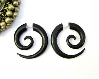 Earrings Fake Gauge Black Wood Earrings Spiral Tribal Earrings - Gauges Plugs Bone Horn - FG009 DW G1