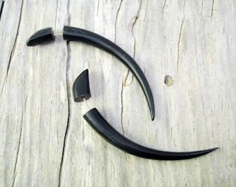 Fake Gauges Earrings Horn Earrings Talon Tribal Buffalo Black Horn Organic - FG034 H G1
