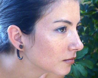 Fake Gauges Earrings Dark Wood Hook Tribal Earrings - Gauges Plugs Bone Horn - FG008 DW G1