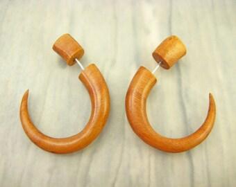 Fake Gauges Earrings Wood Hook Tribal Earrings - Gauges Plugs Bone Horn - FG008 SW G1