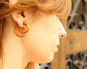 Earrings Fake Gauge Wooden Spiral Tribal Earrings - FG009 OW G1