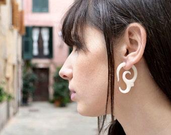 Bone Fake Gauge Bone Earring Spiral Flower white Bone Tribal Earrings - FG007 B G2