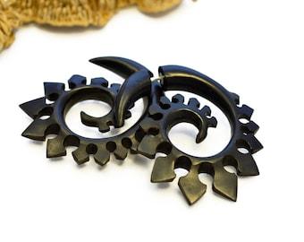 Wood Fake Gauge Earrings Wooden Earrings  Spade Spirals Tribal Earrings - Gauges Fake Plugs   - FG023 DW G1