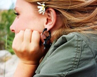 Fake Gauge Earrings Organic Wooden Earrings Swan Flower Natural Tribal Earrings Organic -FG006 DW G2