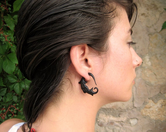 Fake Gauges Earrings Black Horn Earrings Spiral Tribal Earrings - Gauges Plugs Horn - FG011 H G2