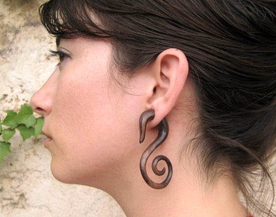 Fake Gauges Earrings Wooden Swan Spirals Tribal Earrings - Gauges Plugs Bone Horn - FG010 W G1
