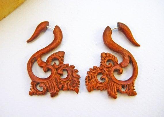 Fake Gauge Earrings Wooden Flower Tribal Earrings - FG031 W G1