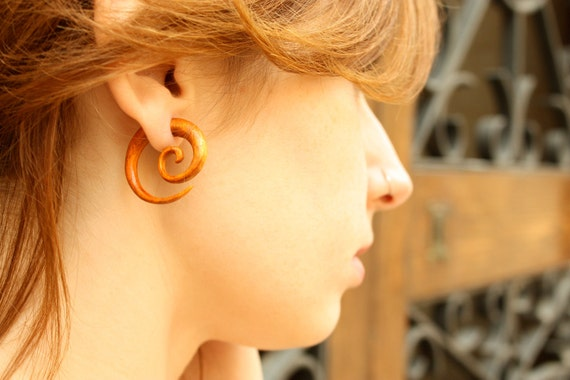 Earrings Fake Gauge Wooden Spiral Tribal Earrings - FG009 OW G1