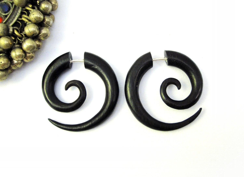 Earrings Fake Gauge Black Wood Earrings Spiral Tribal Earrings