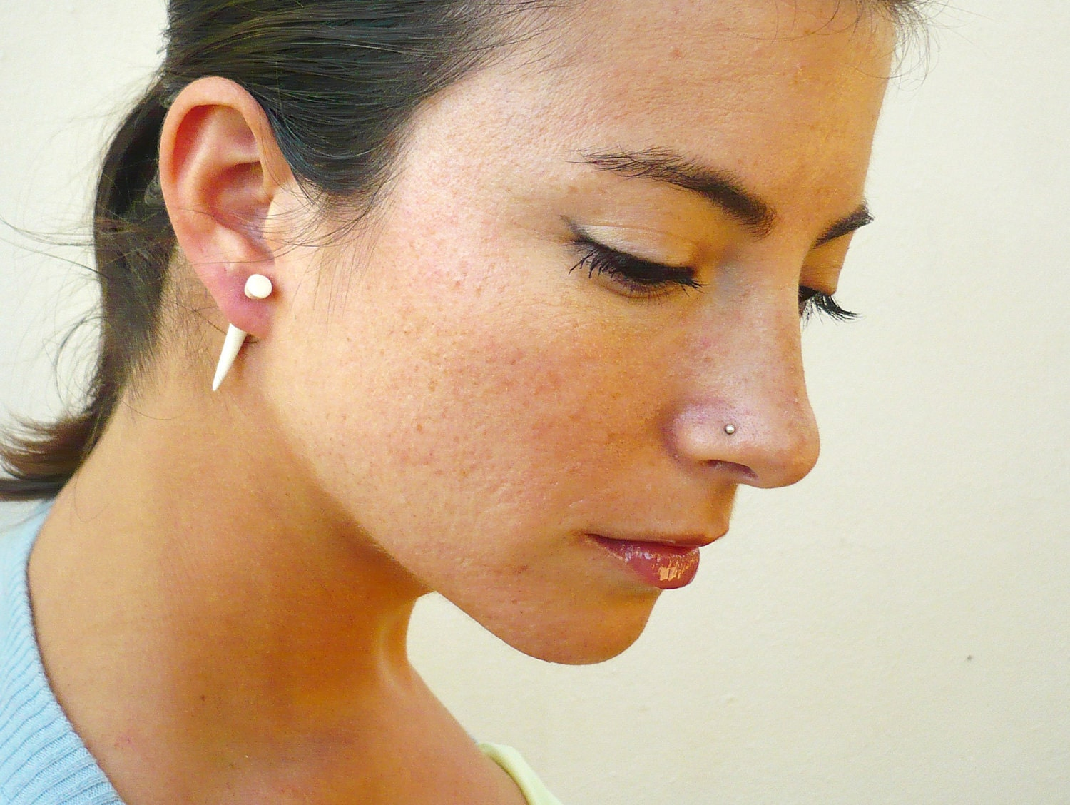 Bone Fake Gauge Earrings Bone Earrings Talon Tribal White Bone