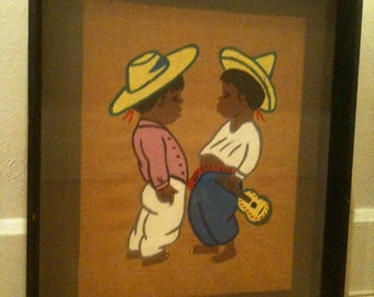 Vintage Mexican Children Framed Art Tipico Betanzos Style 1950s