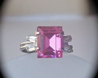 Antique Art Deco Ring Emerald Cut Pink Stone Sterling Silver Ring Baguettes